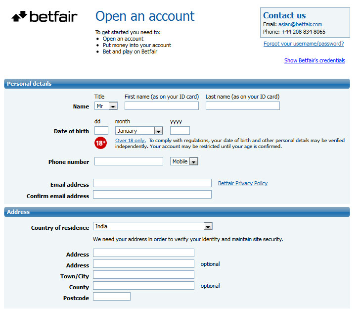 Betfair Signup Page